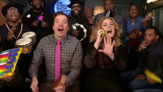 Adele performs 'Hello' with Jimmy Fallon, classroom instruments, toy flip phone