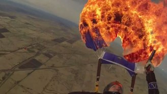 Insane: Watch This Skydiving Instructor Set Her Parachute On Fire Mid-Jump