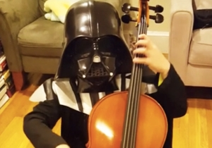 This 7-Year-Old Dressed As Darth Vader Playing 'The Imperial March' On Cello Is Too Adorable To Be Scary