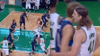 Dirk Nowitzki Daps Kelly Olynyk After The Celtics Big Man Tries His Signature Fadeaway