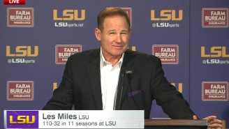 Les Miles Doesn't Seem Too Worried About The Rumors Of Him Getting Fired
