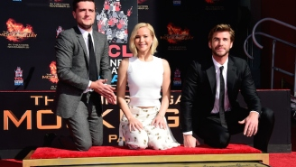 Jennifer Lawrence And The 'Hunger Games' Guys Got Their Hands Dirty At A Handprint Ceremony