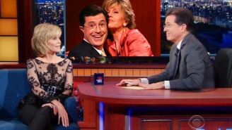 Jane Fonda And Stephen Colbert Relive Their Steamy Past While Keeping It 'Professional'