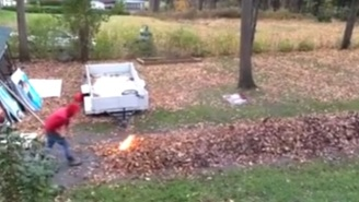 These Foolish Fellows Chose The Worst Way To Empty A Yard Full Of Leaves
