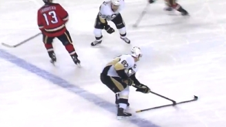 Watch Sidney Crosby Perfectly Flip A Stick Into His Teammate's Hands