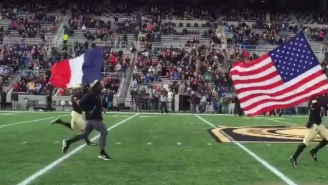 Army Football Showed Support For Paris By Running Onto The Field With The French Flag