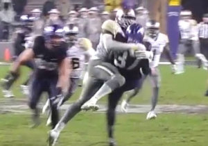TCU's Punter Got This Kick Off Despite Getting Absolutely Destroyed By Shawn Oakman