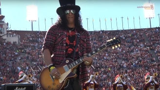 Slash Performs The National Anthem With The USC Marching Band