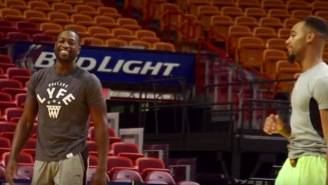 The NBA Impersonator Meets And Mimics Dwyane Wade On The Heat's Home Floor