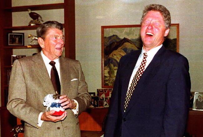 U. S. President-elect Bill Clinton (R) laughs as f