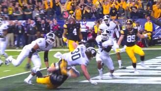 Watch A Michigan State Defender Make A Crazy Interception Off A Teammate's Back