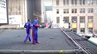 Watch The Harlem Globetrotters Nail Shots From The Roof Of Madison Square Garden