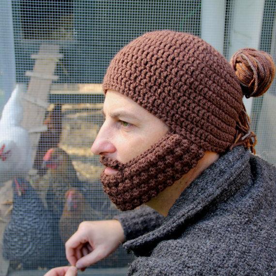 man bun beard hat