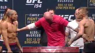 Things Were Definitely Intense Between Conor McGregor And Jose Aldo At The UFC 194 Weigh-ins