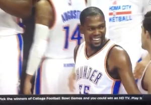 Kevin Durant Couldn't Help But Laugh At This Awful Full-Court Shot By Enes Kanter