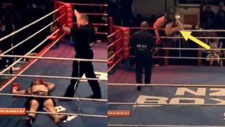 Kickboxer Gets Knocked Out, Tries To Get Up, Jumps Out Of The Ring Like A Crazy Man