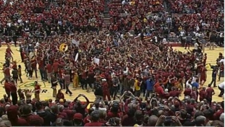 A Reporter Suffered A Broken Leg When Iowa State Fans Stormed The Court After Beating Iowa