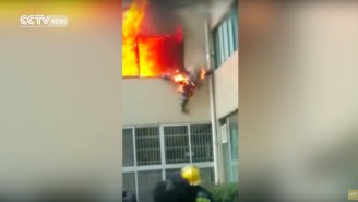 This Video Of A Burning Fireman Surviving A Two-Story Leap Will Make You Appreciate Firefighters Even More