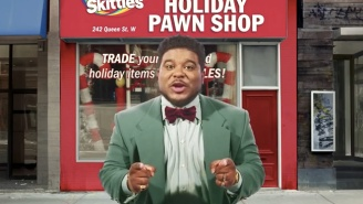 Trade Your Unwanted Crappy Gifts For A Taste Of The Rainbow At This 'Skittles Holiday Pawn Shop'