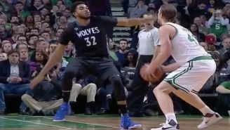 Kelly Olynyk Nearly Drops Karl-Anthony Towns To The Floor With A Simple Jab Step