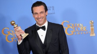The Golden Globes Misspelled Jon Hamm's Name On His Trophy