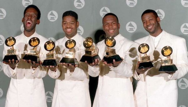 The Boyz II Men singing group pose with their Gram