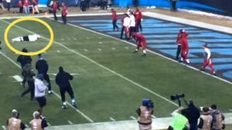 What Is Cam Newton Doing Here? Is He Sleeping On The Field?