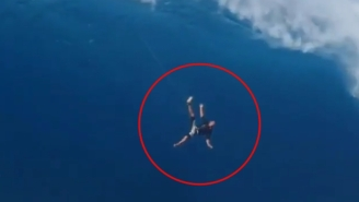 Watch This Big Wave Surfer Fall 40 Feet At 'Jaws' In Maui And Live To Tell The Tale