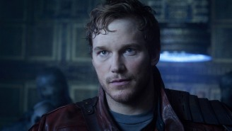 Star-Lord gives the world a pep talk from the set 'Guardians of the Galaxy 2'