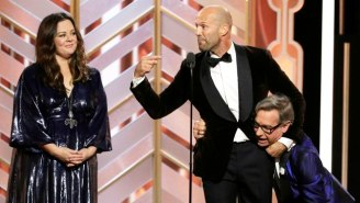 Jason Statham Busts Out A Headlock So You'll Never Forget The Toughest Guy At The Golden Globes