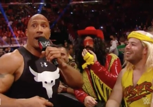 Watch The Rock Mess With Fans Dressed As WWE Legends On Raw