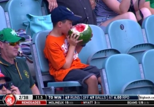 A Boy Scarfed An Entire Watermelon At A Cricket Game And Became A National Hero