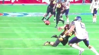 The Cactus Bowl Featured A Wild Juggling Catch Between Three Players