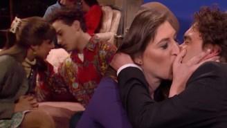 Mayim Bialik And Johnny Galecki Recreate Their 'Blossom' Kiss On 'Conan'