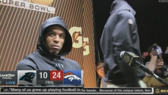A Visibly Upset Cam Newton Walked Out Of A Post-Super Bowl Press Conference