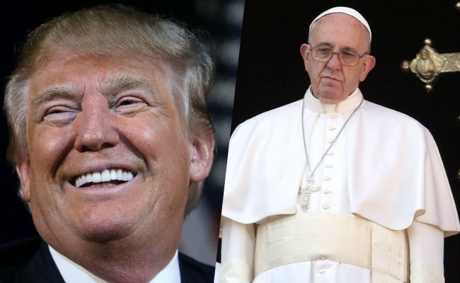 donald trump pope francis fight