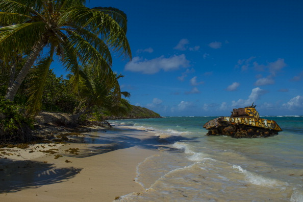 CULEBRA, PR - DECEMBER 6: An old military tank once used as tar - pictures of best beaches in the world