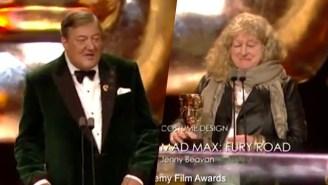 Stephen Fry Cracks A BAFTAs 'Bag Lady' Joke But Poses A Reasonable Explanation