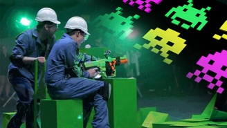 This Real-Life Recreation Of 'Space Invaders' Is Slime-Covered Chaos