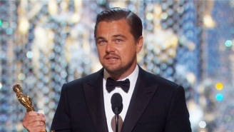 Leonardo DiCaprio Makes The Most Of His Long Awaited First Oscar Win