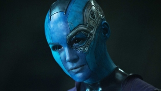 Karen Gillan's feeling blue on the set of 'Guardians Of The Galaxy Vol. 2'