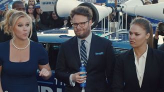 Check Out The Bud Light Super Bowl Commercial Featuring Ronda Rousey, Amy Schumer, and Seth Rogen