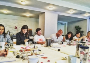 The Rock Gives The World A First Look At The 'Baywatch' Cast At A Table Read