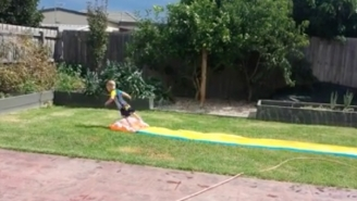 We Are All This Adorable Little Boy Who Doesn't Even Know How To Slip-N-Slide