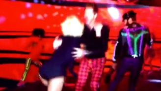 Gwen Stefani's stunt double bailed during her live music video and here's a clip