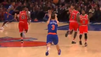 Jose Calderon Just Tossed A Perfect Alley-Oop To Derrick Williams From About 70 Feet