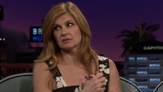 Watch Connie Britton And James Corden Nimbly Try To Explain What Type Of Greeting A 'Brentwood Hello' Is