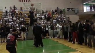 Watch This Blue-Chip 2017 Football Recruit Dunk Over Three People