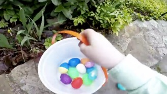 Parents Strapped A GoPro To Their Kid To Capture A Toddler's Point Of View Of An Easter Egg Hunt