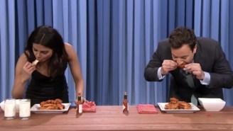 Watch Priyanka Chopra School Jimmy Fallon In A Hot Wing-Eating Contest